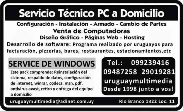 Reparación de computadoras a domicilio en Montevideo