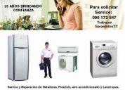Reparación de heladeras, aire acond., lavarropas, secarropas, lavavajillas. con garantía!!